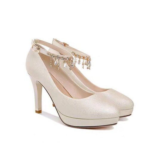 Satin Wedding Shoes Stiletto Heel Closed Toe With Rhinestone OS113