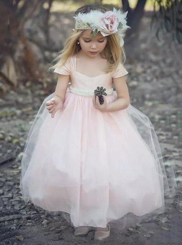 Tulle Short Sleeves Blush Pink Ball Gown Flower Girl Dresses With Pearls OF127
