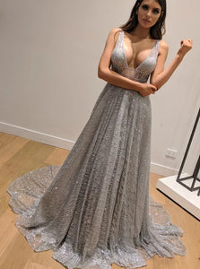 Dazzling Silver Sequins Prom Dresses Backless Formal Engagement Dress PO038