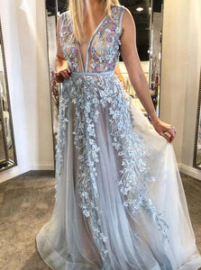 Plunging Neckline Appliques Long Prom Dress A-line Formal Gown OP1022