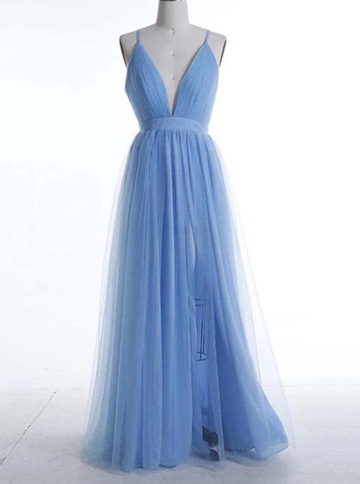 Sexy Boho Blue Bridesmaid Dresses, A-line Ruched Backless Prom Dresses OB279