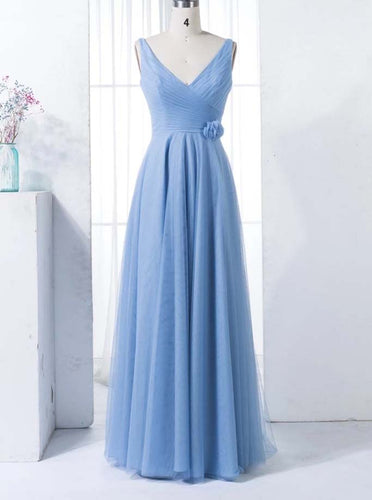 A-line V-neck Blue Bridesmaid Dress Floor Length Long Prom Dress OB278