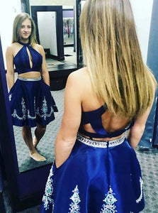 Halter Royal Blue Two Piece Homecoming Dress With Beading OM451