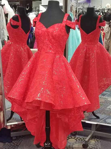 Sparkly Straps Red High Low Evening Gown Lace Sequins Homecoming Dress OM413