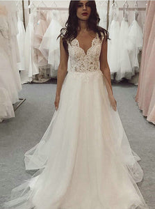 A-line V-neck Lace Top Wedding Dresses Tulle Bridal Gown OW591
