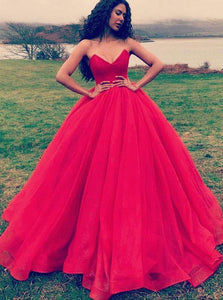 Elegant Strapless Red Ball Gown Tulle Long Prom Formal Dress OP843