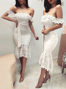 Mermaid Knee Length Lace Prom Dresses Sexy Banquet Evening Dresses PO011