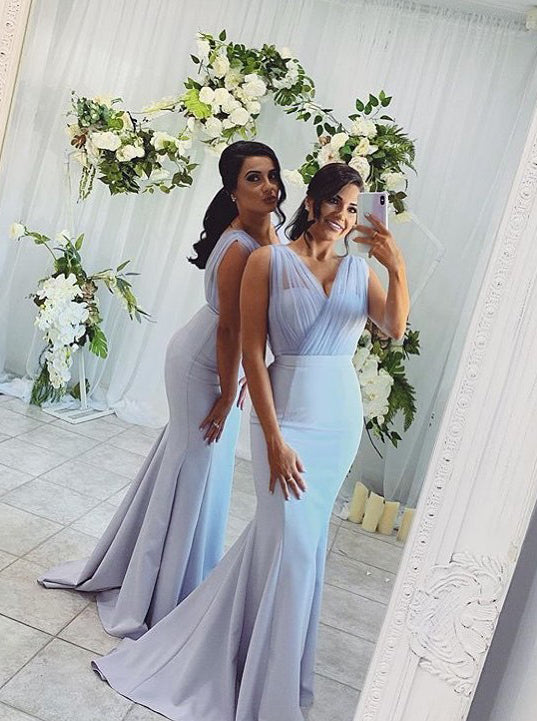 Mermaid V neck Long Bridesmaid Dresses, Blue Wedding Party Dress OB308