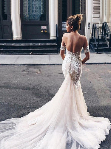 Tulle Sophisticated Mermaid Sweetheart Lace Backless Wedding Dress OW428