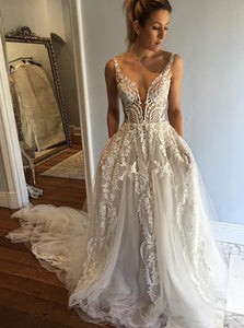 A-line Deep V-Neck Lace Appliques Wedding Dresses with Pockets OW430