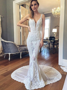 Mermaid V-Neck Backless Wedding Dresses with Lace Appliques OW431