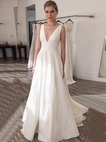 A-Line Illusion Bateau V-Back Printed Satin Wedding Dress OW438