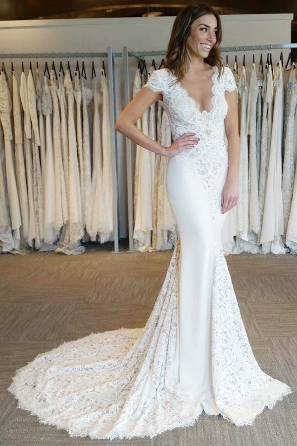 Buy Mermaid V Neck Backless Bridal Gown Lace Short Sleeves Wedding