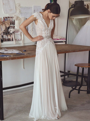 A-Line V-Neck Chiffon Lace Backless Wedding Dress with Beading OW442