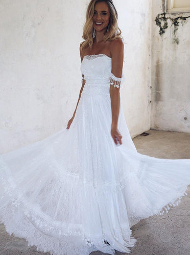 Flowy Off-the-Shoulder Strapless Lace Beach Boho Wedding Dresses OW441