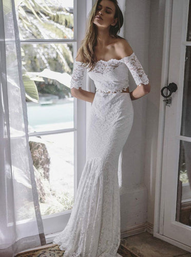 Off-Shoulder Lace Wedding Dresses Two Piece Mermaid Bridal Gown With Sleeves OW473