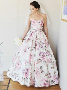 A-Line Sweetheart Floor-Length Satin Floral Print Wedding Dress OW480