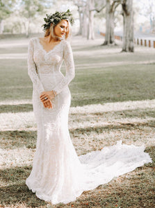 Backless Mermaid Wedding Dresses Long Sleeves Lace Bridal Dress OW475