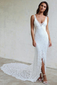 Sheath V-Neck Backless Lace Wedding Dresses Court Train with Split OW476