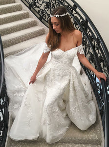 Mermaid Lace Appliques Off-the-Shoulder Wedding Dress with Detachable Train OW447