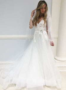 A-Line V-Neck Tulle Long Sleeves Wedding Dress with Appliques OW446
