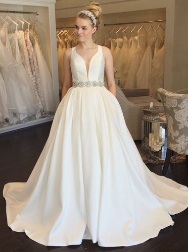 A-Line V-Neck Open Back Beading Satin Wedding Dress with Pockets OW479