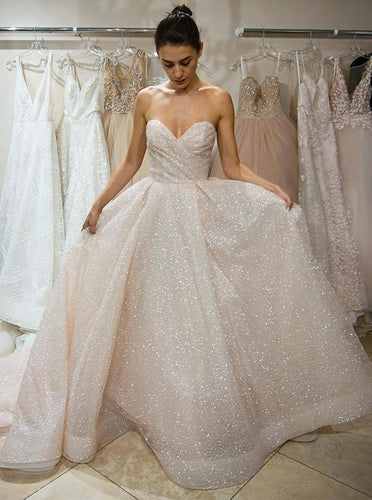 Sparkly A-Line Sweetheart Wedding Dresses Sequins Bridal Dress OW481