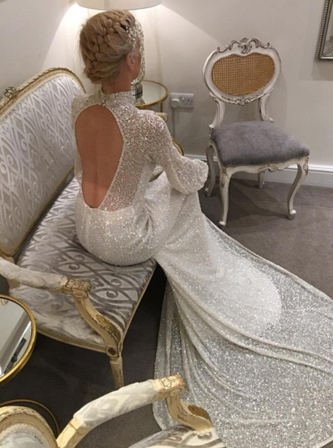 Mermaid High Neck Open Back Long Sleeves Sequins Lace Wedding Dress OW485