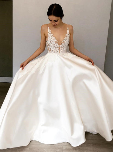 Elegant A-Line V-Neck Satin Long Wedding Dress with Appliques OW482