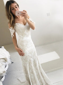 Ivory Mermaid Off-Shoulder Backless Lace Wedding Dress OW486