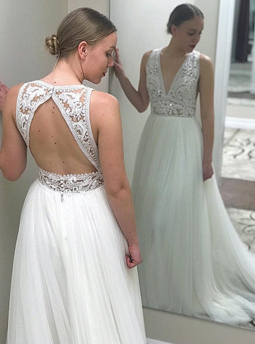 A-Line Deep V-Neck Open Back Tulle Wedding Dress with Lace Top OW484