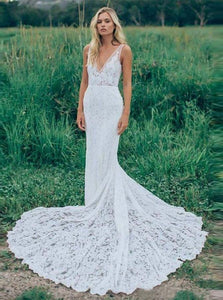Mermaid Lace Wedding Dress Backless Bridal Gown with Pockets OW487