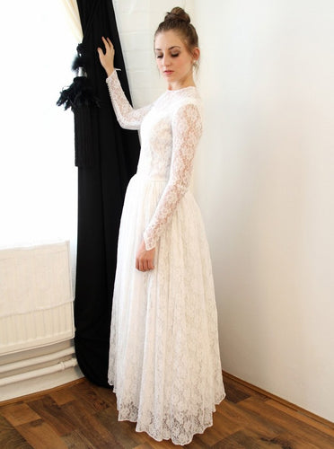 Modest A-Line Crew Long Sleeves Lace Long Wedding Dress OW490