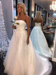 White A-Line Tulle Strapless Wedding Dresses with Appliques OW448