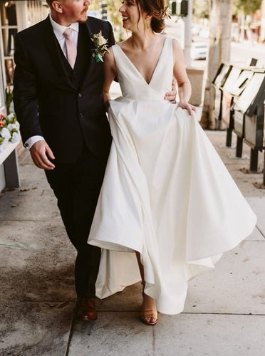 Simple Modern Wedding Dress A-Line V-Neck Satin Bridal Gown OW451