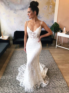 Spaghetti Straps Sweep Train Lace Appliques Mermaid Wedding Dress OW454