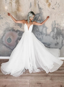 Simple Spaghetti Straps Floor-Length Chiffon Beach Wedding Dress OW492