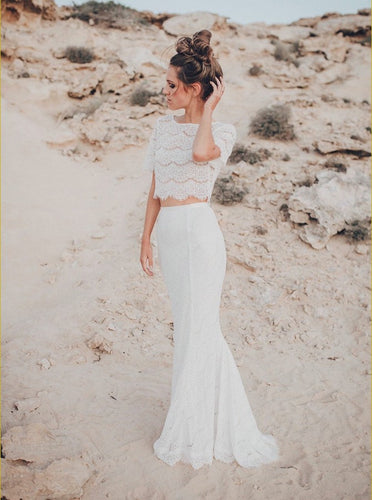 Two Piece Crew Short Sleeves Mermaid Beach Lace Wedding Dress OW488