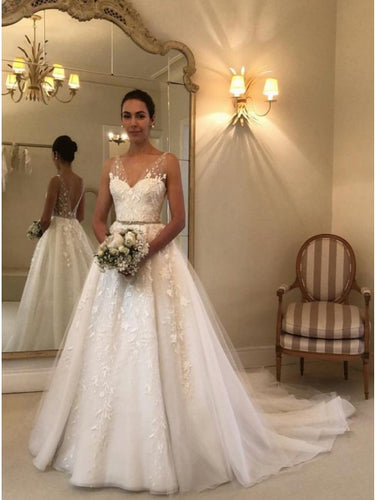 Princess A-Line V-Neck Backless Wedding Dress with Appliques OW453