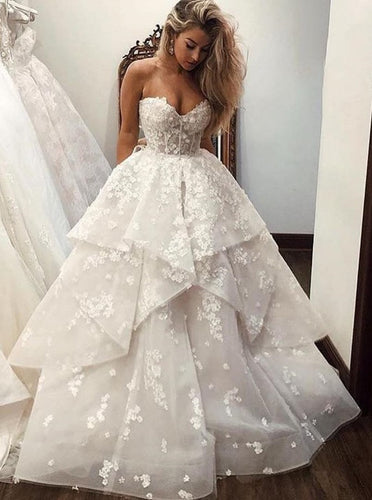 Princess Sweetheart Layered Long Wedding Dress with Appliques OW452