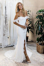 Mermaid Off-the-Shoulder Backless Lace Wedding Dress with Split OW457