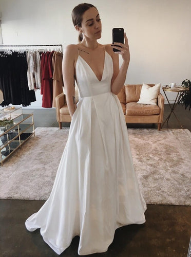 Simple Spaghetti Straps Satin Backless Wedding Dress with Pockets OW494