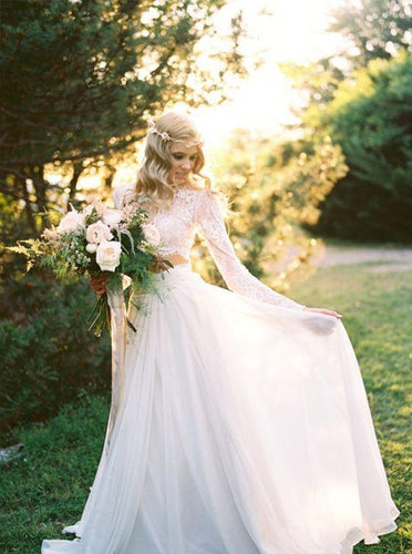 Boho Two Piece Round Neck Long Sleeves Lace Beach Wedding Dress OW456