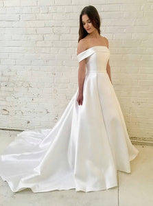 A-Line Off-the-Shoulder Satin Simple Wedding Dress OW459
