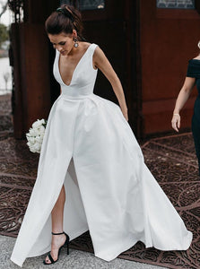 Elegant A-Line V-Neck Satin Simple Wedding Dress with Split OW458