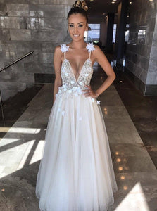 Deep V-neck Tulle Beading Spaghetti Wedding Dress Backless with 3D Appliques OW497