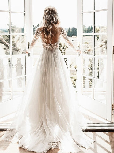 A-Line Sheer Bateau Backless Wedding Dresses With Appliques Long Sleeves OW529