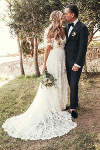 A-Line Off-Shoulder Bohemian Appliques Wedding Dresses with Train OW530