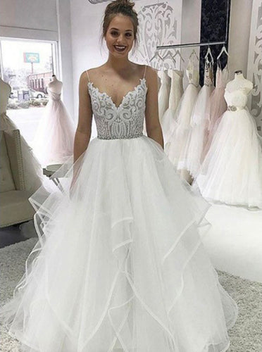 Princess V-neck Spaghetti Wedding Dress with Appliques Beading OW532