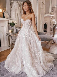 Newest A-Line Sweetheart Wedding Dress with Appliques OW499